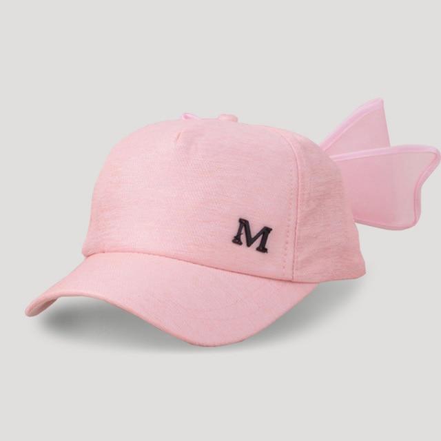 f3a7c4b572d9d Fashion Children Baseball Caps For Girls Big Mesh Bow Caps Visor Spring  Bowknot Pure Sum Hat