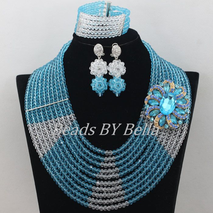 Trendy Nigerian Wedding Beads Lace Jewlery Set Sky Blue Beads Crystal Necklace African Beads Jewelry Set Free Shipping ABF485