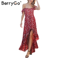 BerryGo Bobo Off Shoulder Long Summer Dress Women Casual Red Floral Print Maxi Dress 2018 Beach
