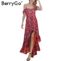 BerryGo Bobo Off Shoulder Long Summer Dress Women Casual Red Floral Print Maxi Dress 2018 Beach