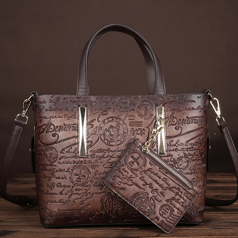New Arrival Women PVC Embossed Shoulder Messenger Bag Ladies Crossbody Bags Luxury Badges&Letters Print Tote Handbag With Purse