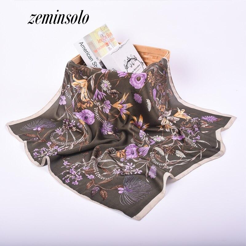 Luxury Silk Scarf New Arrival Brand Design Satin Bandana Square Scarf Floral Women Silk Scarves Shawl Style Handkerchief 70*70cm