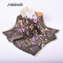 Luxury Silk Scarf New Arrival Brand Design Satin Bandana Square Print Women Scarves Shawl Style Handkerchief 70*70cm