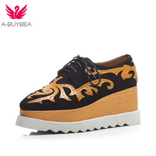 A-BUYBEA Size 34-43 New Fashion Platform Heels Women Shoes Rivet Lace-Up Casual Oxfords Real Leather Pumps