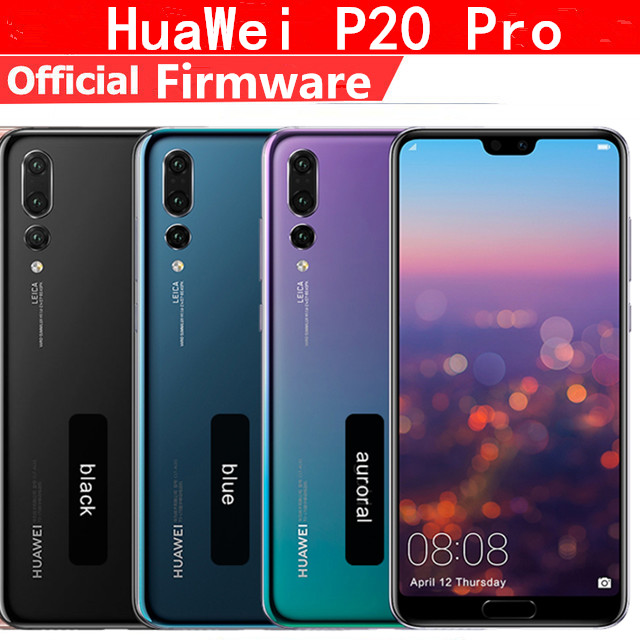 "Original HuaWei P20 Pro 4G LTE Mobile Phone Kirin 970 Android 8.1 6.1"" Full Screen 2440x1080 6GB RAM 256GB ROM NFC 40.0MP IP67"