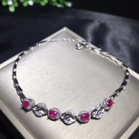 Exclusive high end gem natural ruby Bracelet exhibition 925 new silver hand made leading fashion