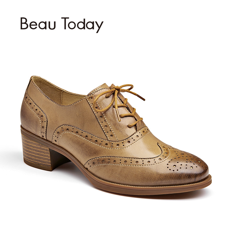 цена на BeauToday Oxfords Women Pumps Top Brand Genuine Leather Sheepskin Wingtip Round Toe Lace-up Brogues Shoes Handmade 15114