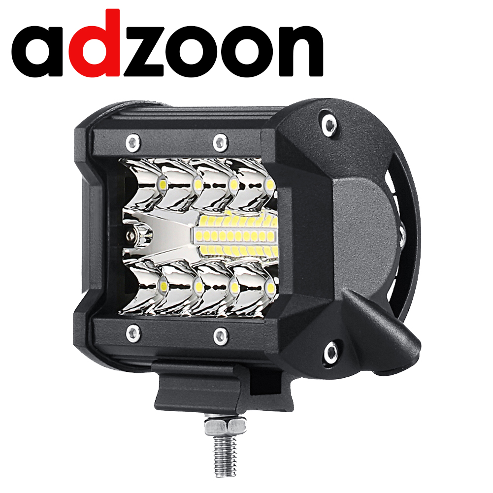 ADZOON LED Light Bar 4 inch 60w Led Working Lights Offroad Spotlight SUV Barra 4X4 Worklamp Foglight feux 60W