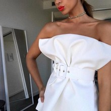 Summer Women Sexy Formal Business Blouse Office Lady Work Chic Shirt Off Shoulder Strapless Solid Blouse