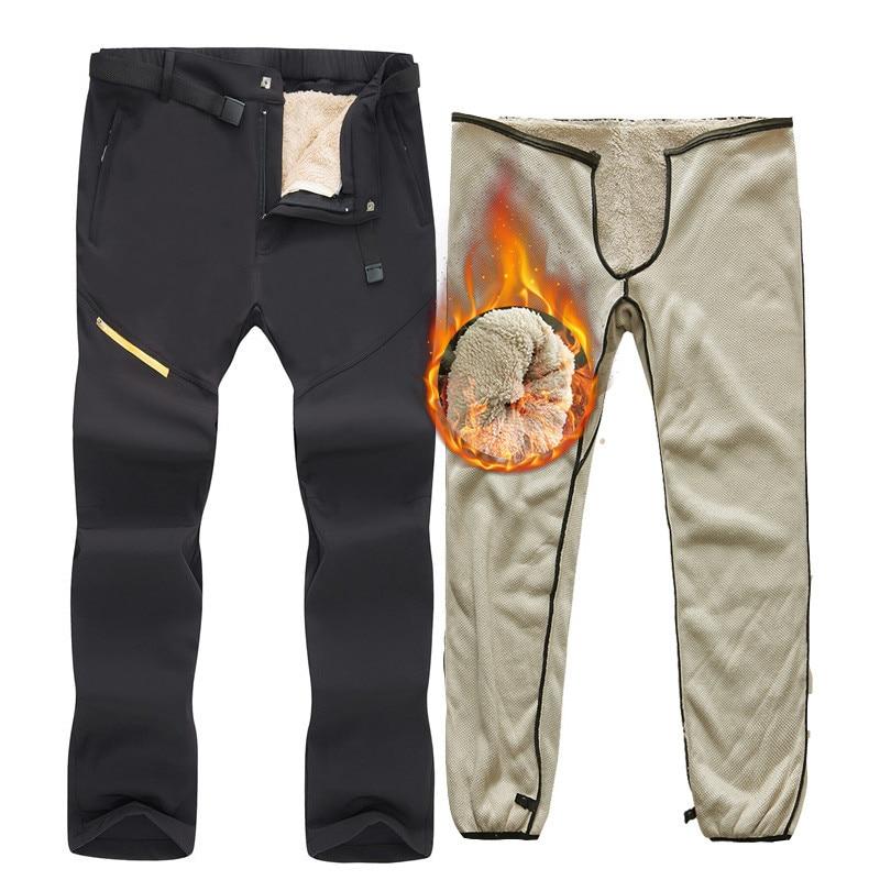 -40 Degrees Ski Pants Winter Outdoor Windproof Waterproof Snowboard Snow Pants Thick Warm Trousers Men Trekking Hiking Pants