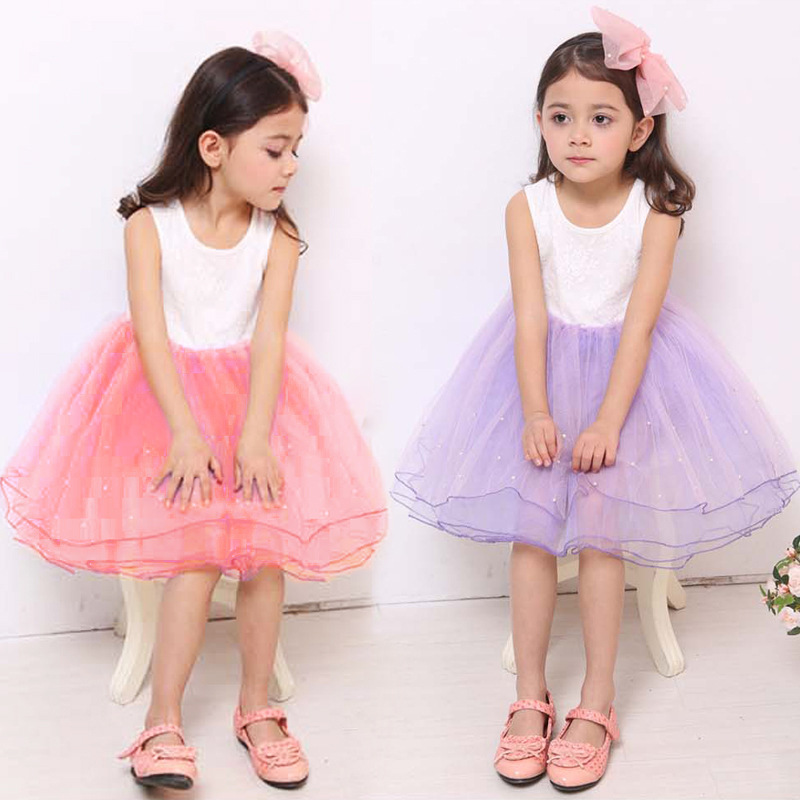 Girls Birthday Dress Baby Evening Party Dress Ball Gown Lolita Style Floral O-Neck Sleeveless Mini Dress with Pearls Kids Clothe