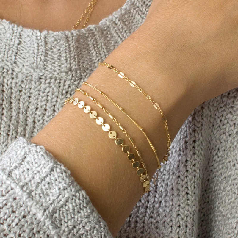 4 Pcs/set BOHO Multilayer Paillette Bangles Gold Silver Tube Lace Satellite Chain Bracelets for Women Foot Chain Anklets Jewelry