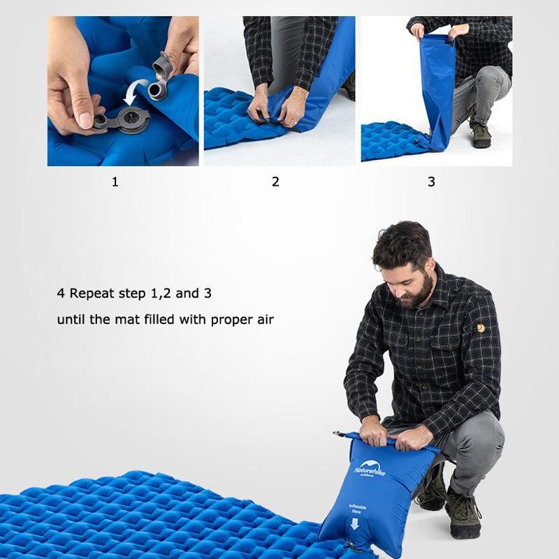 Naturehike Outdoor Camping Inflatable Cushion Moisture proof Sleeping Bag Mattress Mat Pad With Inflatable Bag For 1 2 Persons-in Camping Mat from Sports & Entertainment    3