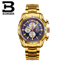 New Original Switzerland watches man luxury brand BINGER Wristwatches Gold Men Quartz watch Chronograph Diver Glow watch