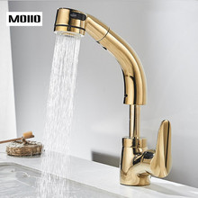 MOIIO Golden sink Faucet Height Adjustable Pull Out Bathroom with Multifunction 360 Degree Rotation HOT and Cold Tap