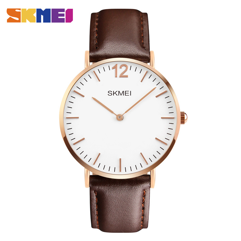 <font><b>SKMEI</b></font> Luxury Simple Couple Watch Nylon Strap Lovers' Quartz Dual Display Buckle Wristwatch Memory Day Gift Thin Clock Case image