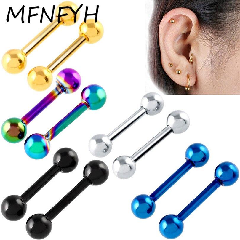 MFNFYH 2PC Stainless Steel Gold Rainbow Black Ear Cartilage Tragus Helix Piercing Top Upper Ear Stud Earring Stud Body Jewelry