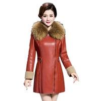2017 Winter Leather Coat Female Medium Long Jacket Hooded Large Fur Collar Leather Clothing Plus Size