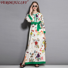 Wholesale Fashion Color Patchwork Dresses Flowers Print Belt
