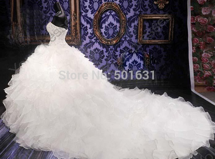 Free Shipping 2014 Cathedral Wedding Gowns Luxury Royal Puffy Catherdarl Train Beaded Dresses Bridal Organza In From Weddings