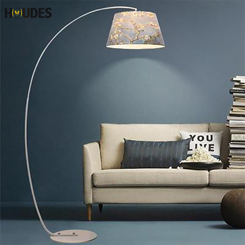 Fashion Design Modern Cloth Floor Lamp For Living Room Bedroom Bedside Fishing Lambader Black White led floor standing lamp E27 french garden vertical floor lamp modern ceramic crystal lamp hotel room bedroom floor lamps dining lamp simple bedside lights