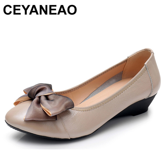 CEYANEAO 2019Genuine Leather Slip On Casual Shoes Soft Women Pumps Bowknot Low Heels Wedge Shoes Pointed Toe Women's ShoesE1897