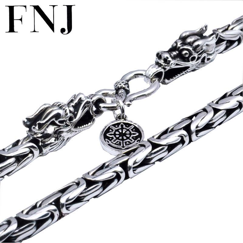 Bijoux pour hommes 100% collier en argent pur S925 collier pour hommes en argent Sterling chaîne tête de dragon. collier en argent thaïlandais N04