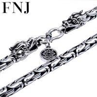 Homens jóias 100% colar de Prata Pura S925 Prata Esterlina dos homens colar de corrente da cabeça do dragão. Thai prata declaração colar N04