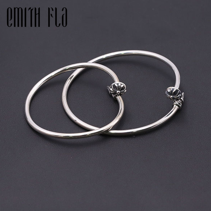 Emith Fla Authentic 925 Sterling Silver Bangle Opening Nail Cross Fashion Jewelry for Women Men Vintage Thai Silver Bracelets emith fla 100% real 999 sterling silver bangle opening fashion jewelry for women lotus adjustable vintage thai silver bracelets