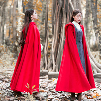 2019 autumn winter women new retro cloak Hooded coat long section code red cloak warm coat ladies w89