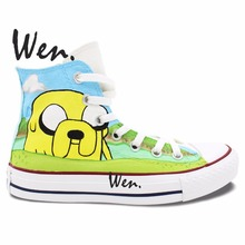 Wen Hand Painted Shoes Design Custom Adventure Time High Top Men Women's Canvas Sneakers Christmas Birthday Gifts