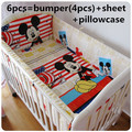 Promotion! 6PCS Mickey Mouse cot baby bedding set Bed Linen cotton crib bumper baby cot sets (bumpers+sheet+pillow cover)