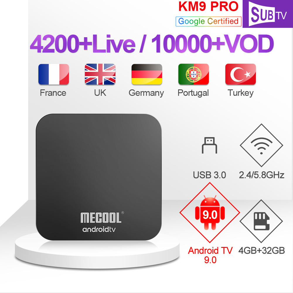 IPTV Russia Ex Yu KM9 Pro 1 year SUBTV IPTV France Italy Turkey Arabic Canada IP TV Android 9.0 IPTV Italian Poland Africa IP TV-in Set-top Boxes from Consumer Electronics
