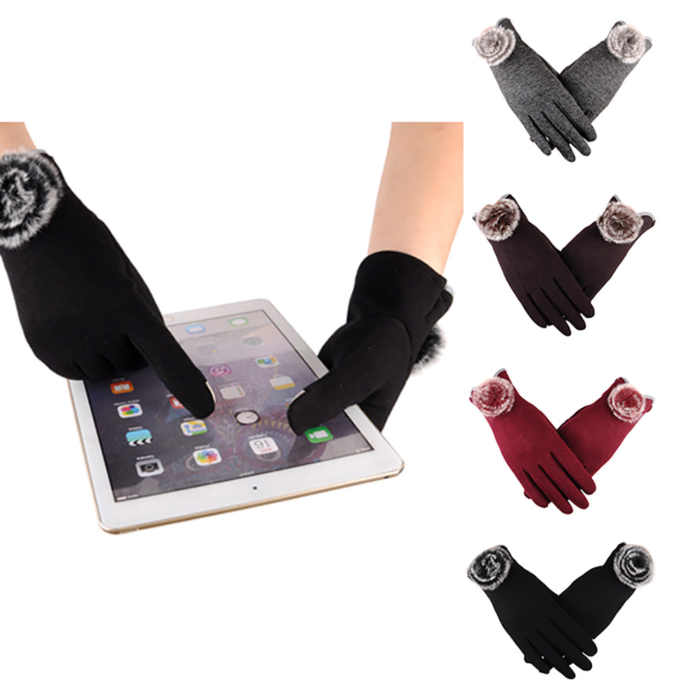 Women Fashion Plush Ball Winter Warm Gloves Ski Wind Protect Hands Tounch Screen Wear-resistant Anti-skid Mittens For Women