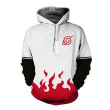 2018 new fashion Cool sweatshirt Hoodies Men women 3D print Four generation Naruto White ZIP UP hot Style Streetwear Long sleeve