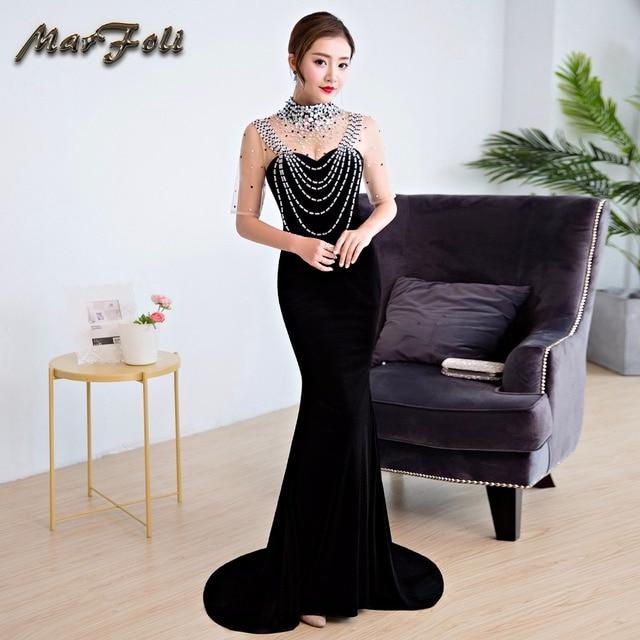 0ecf9073dc73 Marfoli Mermaid Prom Dresses Long Sequins Evening Dresses Black Sexy Trumpet  Deep V Back Elegant Full Length Prom Dress GE44