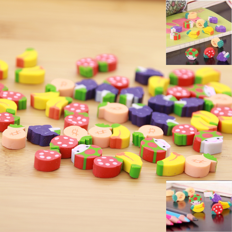 20pcs/Bag Mini Cute Kawaii Fruit Styling Eraser Children Students Learning Stationery Cartoon Gift School Office Supplies