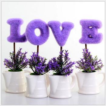 Casa Decoração Decoração de Mesa de Casamento AMOR Planta Simulação Ornamentos Vaso de Cerâmica Roxo MISS Valentine Flores Artificiais