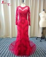 Jark Tozr Newest O-neck Long Sleeve Appliques Beading Dark Red Mermaid Evening Dress 2018 Vestido De Festa Tulle Formal Gowns