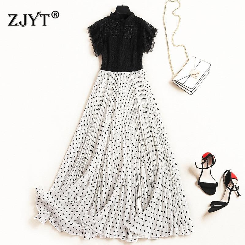 Fashion Designer Runway Long Dress Summer Style 2019 Women Elegant Black Lace Patchwork Dot Print Pleated