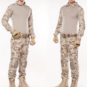 Kamuflaż pustynny mundur wojskowy wojskowy mężczyźni polowanie ubrania Camo Swat Airsoft Sniper taktyczne koszula spodnie walki BDU garnitur