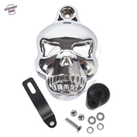 Black Motorcycle accessories Skull Horn Cover Cowbell case for Harley Davidson Dyna Glide Fat Bob Street Bob 1992 2013