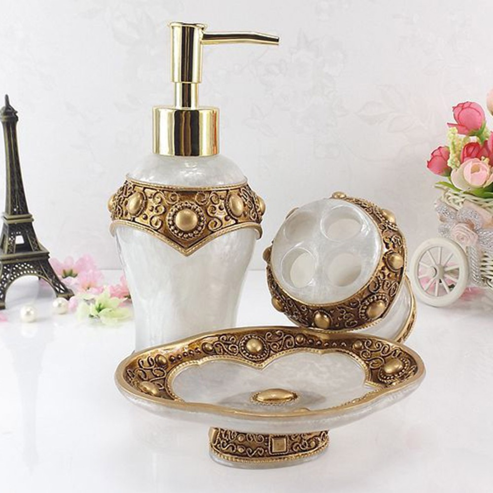 5 Pcs Luxury Roman Resin Bathroom Set Lotion Dispenser Tumbler ...