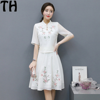 白いドレス2018新しい女性ファッションドレスルースレトロ刺繍5袖ツーピースドレスシャツドレスローブフェムセクシーss013