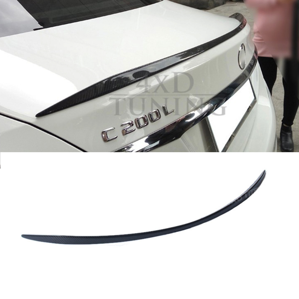 For Mercedes W205 Spoiler C63 Style Coupe C Class W205 Carbon Fiber Rear Spoiler Rear Bumper Trunk Wing 2-doors styling 2014-UP fit for mercedes benz c w205 c180l c200l c63 amg carbon fiber rear spoiler rear wing