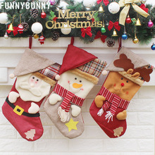 FUNNYBUNNY Christmas Stockings 3D Hat Style Gift Bag Home Decoration Xmas Tree Hanging Ornament Party supplies