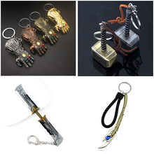 Marvel Keychain Avengers Loki Thor Hammer Jewelry Pendant Scepter Key Chain Thanos Infinity Glove Gauntlet Weapon Keyring