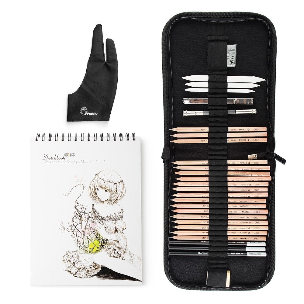 Marco 29 PCS Professional Sketch & Drawing Art Tool Kit With Graphite Pencils, Charcoal Pencils, Paper Erasable Pen, Craft Knife