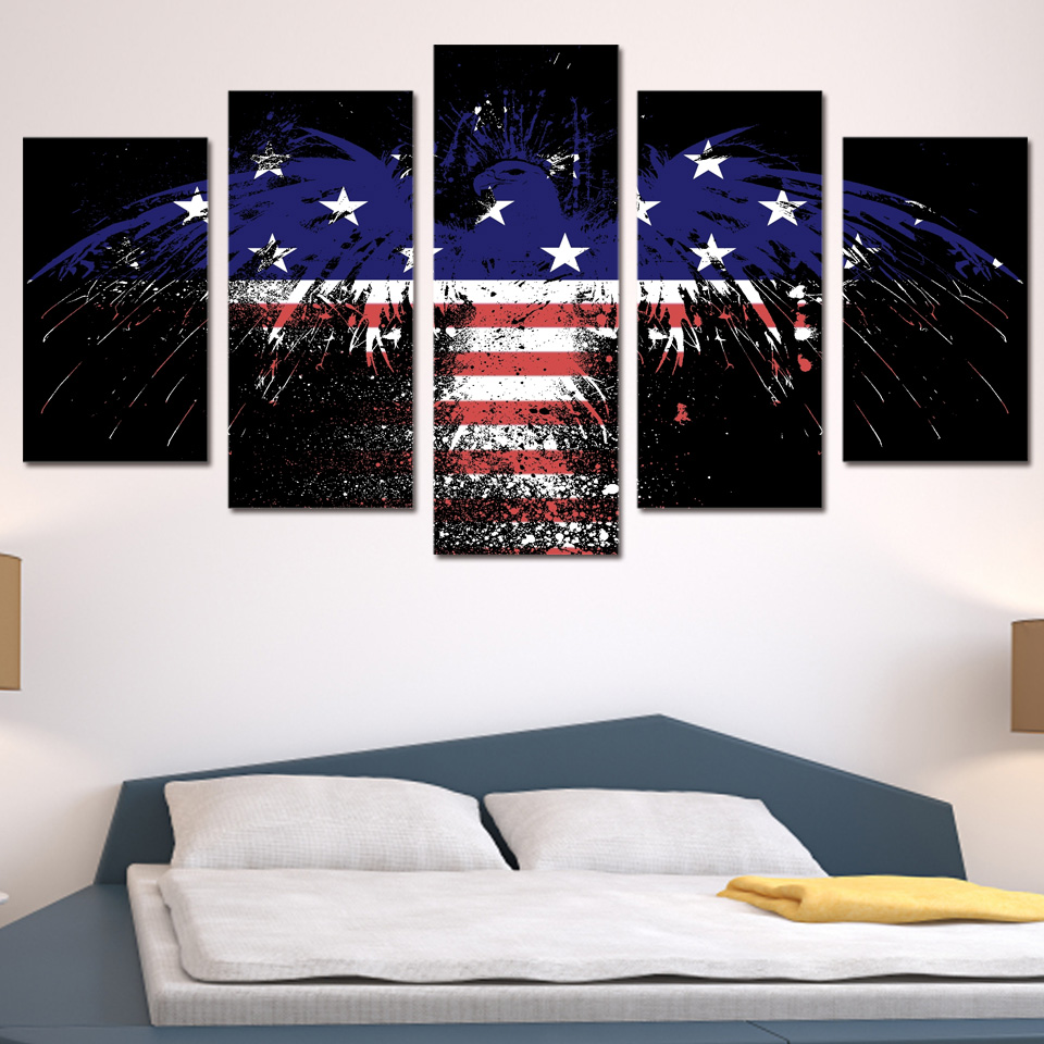 5 Teile/satz Gerahmte HD Gedruckt Amerikanische Flagge Adler ...