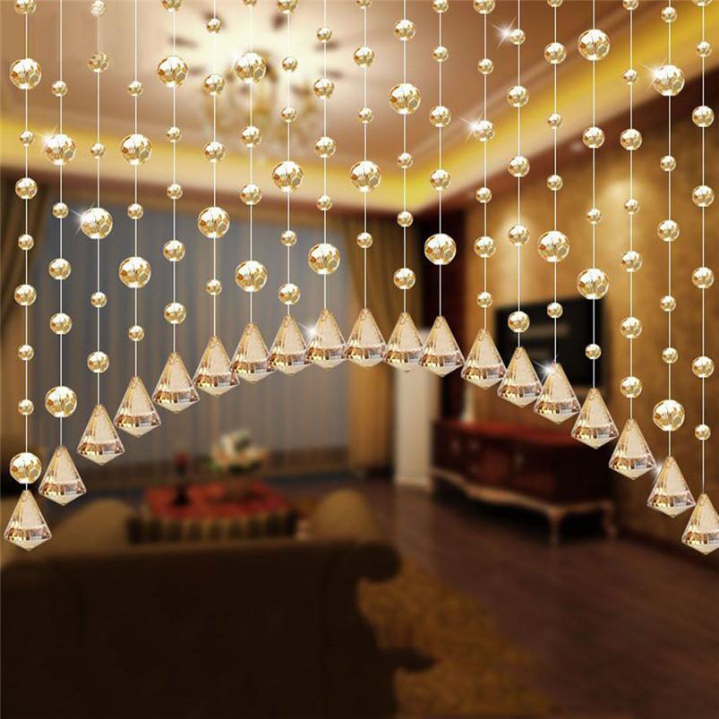 2017 Hot Sale Fashion New 1 Luxury Glass Beads Door String Tassel Curtain Wedding Divider Panel Room Decor